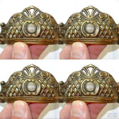 4 engraved shell shape pulls handles heavy solid brass old style drawer 10 cm B