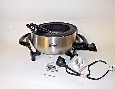Rival Stainless Steel ELECTRIC Fondue Pot w/ all 8 Forks, 3 Quart, MDTCP-1-NICE