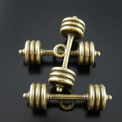 20 pcs Antiqued Bronze Alloy Barbell Pendants Charms Jewelry Making Crafts 51836