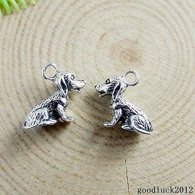 51147 Vintage Silver Alloy Tiny Lovely Pet Dog Shape Charms Pendants Crafts 60X