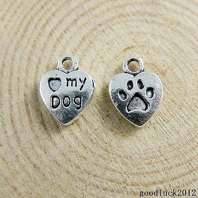 51147 Vintage Silver Alloy Engraved Love Dog Heart Charms Pendants Crafts 80X