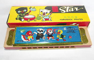 Vintage Star Printed Harmonica Toy Tin & Wood 1970s China