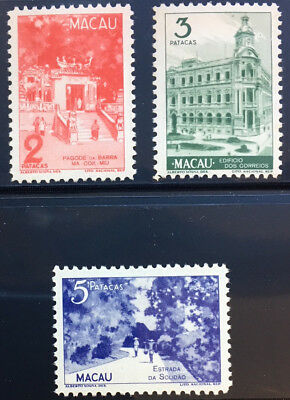 MACAO 333 - 335 Very Nice Mint Light Hinged Top Values OD A250