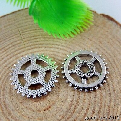 50893 Antique Silver Alloy Gear Wheel Shape Charms Pendants Finding Crafts 80PCS