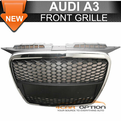 Fits 06-08 Audi A3 ABS Front Mesh Hood Grille Chrome Trim