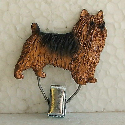 Australian Terrier Tan and Blue Show Ring Clip Dog Breed Jewellery Handpainted