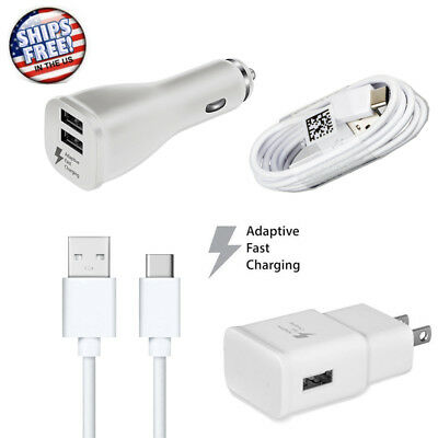 OEM For Samsung Galaxy S7 S8 S9 Fast Charging Dual USB Car&Wall Charger+Cable
