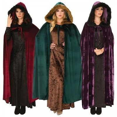 Hooded Cloak with Faux Fur Trim Adult Medieval Costume Fancy Dress