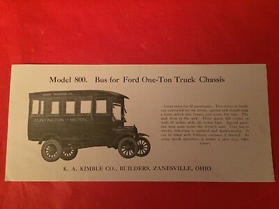 "x c.1920 ""Bus For Ford One-Ton Truck Chassis Model 800"" K.A. Kimbel Co. Brochure"