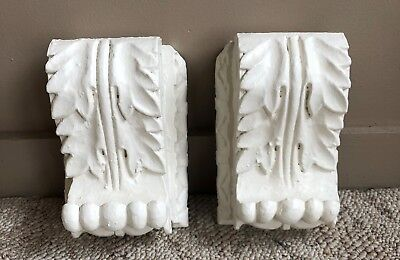 Shabby Antique Pair(2) 1890's Wood Corbels Brackets Church Montreal White 198-18