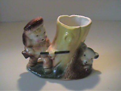 Vintage 1950's Ceramic Davy Crockett Planter With Bear