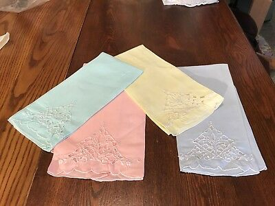 Vintage Set of 4  Madeira Hand Embroidery Sturdy Linen Guest Towels