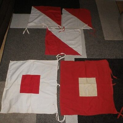 Vintage Lot Of World War Ii Us Military Signal Corps Wigwag & Semaphore Flags