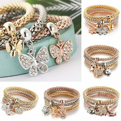 3Pcs Women Multilayer Crystal Rhinestone Butterfly Crown Bracelet Elastic Bangle