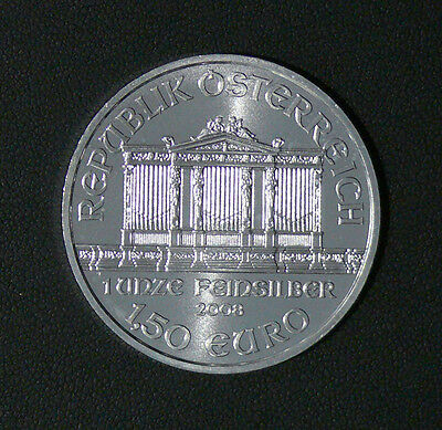 2008 First Year of Issue Austrian Philharmonic SILVER COIN BU UNC 999 Fine