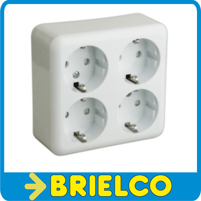 Base De Red 4 Enchufes Schuko De Superficie Blanco 250V 16A 105X100X42Mm Bd4198