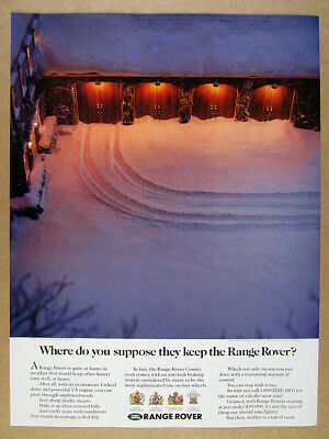 1992 Range Rover Classic snow covered driveway garage photo vintage print Ad