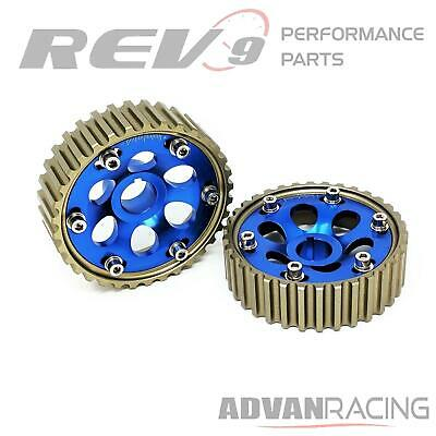 Rev9 Adjustable Cam Gears For Honda B-Series DOHC Engine, BLUE, Set of 2