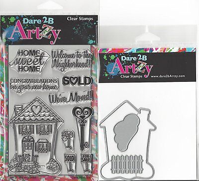 Dare 2B Artzy Weve Moved Clear Cling Rubber Stamps And House Die Set