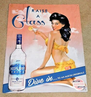 DEEP EDDY Distilled VODKA Sexy Latino Girl TIN Embossed SIGN (Nice++)