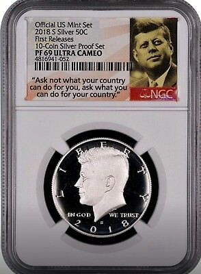 2018 S SILVER Kennedy Half Dollar FIRST RELEASES 10-Coin Silver Set NGC PF69 POR