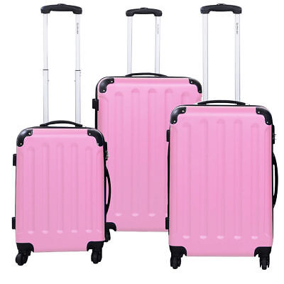 3 PCS Pink Luggage Set Bag Trolley Hard Shell Travel Suitcase Wheels Coded Lock