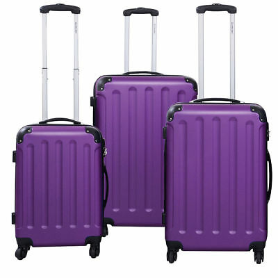 3 PC Purple Luggage Set Bag Trolley Hard Shell Travel Suitcase Wheel Handle Lock