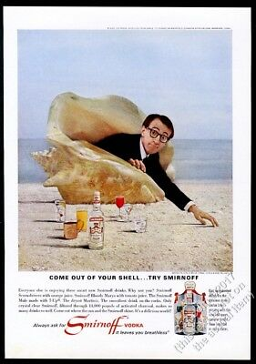 1966 Woody Allen photo in seashell Smirnoff Vodka vintage print ad