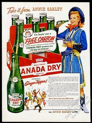 1954 Annie Oakley cowgirl art Canada Dry Ginger Ale vintage print ad