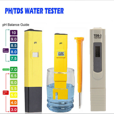 NEW Digital LCD PH Meter + TDS EC Water Purity PPM Filter Hydroponic Pool Tester