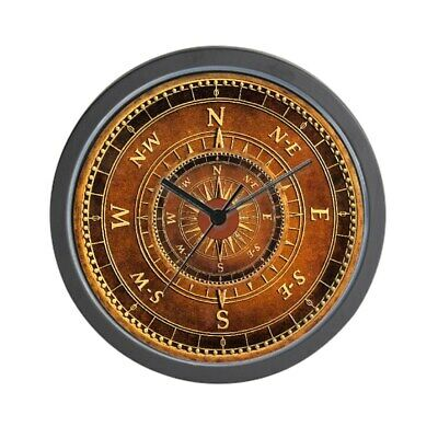 "CafePress - Compass Rose In Brown - Unique Decorative 10"" Wall Clock"