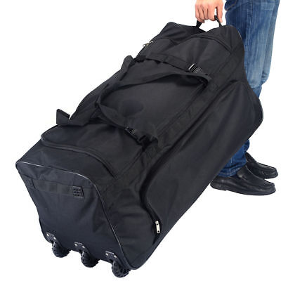Large Black Rolling Wheels Duffle Tote Gym Bag Luggage Sports Travel Suitcase