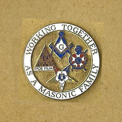 Working Together As A Masonic Family Pin Old