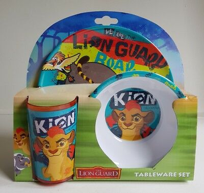 Brand New Disney The Lion Guard 3 piece melamine tableware set