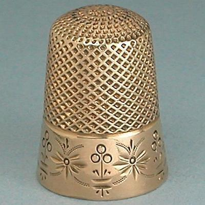 Lovely Antique American 14 Kt Gold Thimble * Circa 1870