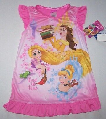 Nwt New Disney Princess Nightgown Pajamas Sleepwear Silky Pink Kind & True Girl