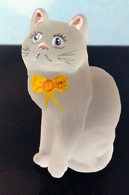 Mosser Glass Cat Kitten W / Yellow Bow Blue Eyes  ~ Special ~ New