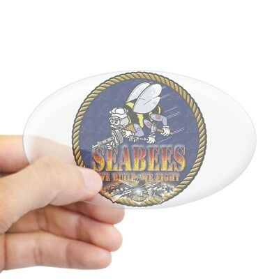 CafePress - US Navy Seabees Lava Glow - Oval Bumper Sticker, Euro Oval Car Decal