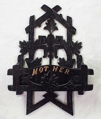 """Old Antique WOOD Victorian Ornate """"MOTHER"""" Branches Leaves MAGAZINE MAIL HOLDER"""