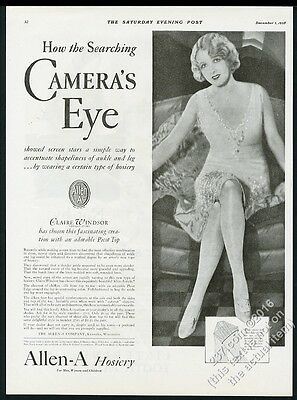 1928 Claire Windsor photo Allen-A hosiery stockings vintage print ad