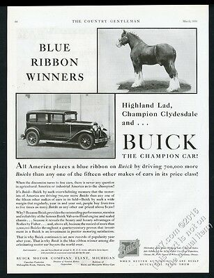 1930 champion Clydesdale horse photo Highland Lad Buick car vintage print ad