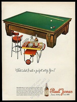 1945 billiards table cue balls art Paul Jones whiskey vintage print ad
