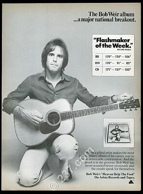 1978 Bob Weir photo Heaven Help the Fool album release vintage trade print ad