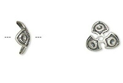 4 Antiqued Sterling Silver Shield Bead Caps / 9x3mm / Fits 12-14mm Beads
