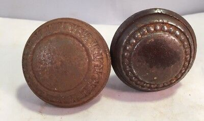 Pair Antique Victorian Ornate Steel Door Knobs Set Salvage Restore
