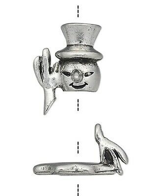 Two 2 Piece Antiqued Pewter Snowman Bead Cap Sets / Fits 7-9mm Beads