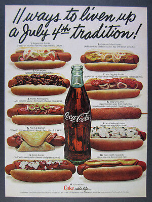 1978 Coke Coca-Cola bottle & 10 Hot Dogs toppings photo vintage print Ad