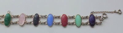 Antique Egyptian Revival Hand Carved Natural Stone Scarabs Double Row Bracelet
