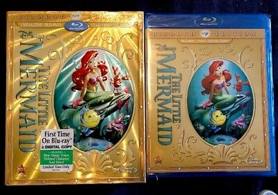 Disney THE LITTLE MERMAID Blu-ray/Dvd DIAMOND EDITION w/ Rare Slipcover OOP New