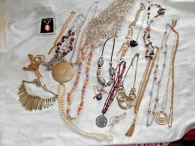 Mixed Lot of 20+ Vintage & New  Necklaces - Some signed, Different Styles